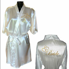 Personalised Heart Satin Wedding Robe / Dressing Gown - Bride Mother Childrens