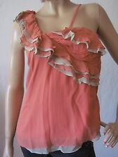 New MM COUTURE Miss Me Womens Pink Lined One Shoulder Ruffle Top Silk Blouse $79