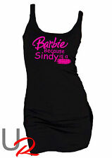 Womens Pink Barbie Logo / Slogan Long Tank Top Dress - Because Sindy is a Sl*t
