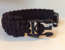 Police Tactical Black King Cobra 550 Paracord Bracelet w/ Handcuff Key Buckle