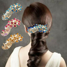 New Retro Peacock Full Crystal Rhinestones Barrette Hair Clip Bridal Decoration