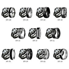 His Hers 4 Piece Wedding Ring Sets AAA CZ Black IP Stainless Steel & Titanium