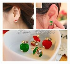 2014 Womens Fashion Lovely Asymmetric Crystal Red Apple Studs Earrings(2 Colors)