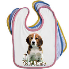 BEAGLE DOG PERSONALISED BABY BABIES BIB - ANY NAME / TEXT - GREAT NAMED GIFT