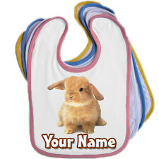 BUNNY RABBIT PERSONALISED BABY BIB - ANY NAME/TEXT/ EDGE COLOUR *GREAT GIFT*