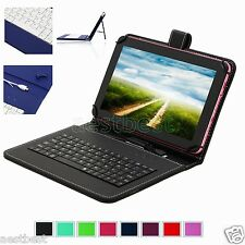 "Micro Keyboard Leather Case Cover For 7"" Verizon Ellipsis 7 4G LTE Tablet"