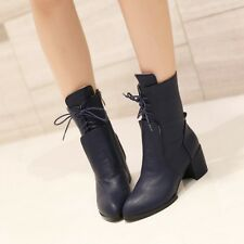 Womens Chic Cuban Heel Pointed Toe Lace Up Zipper Motor Biker Ankle Boots Shoes