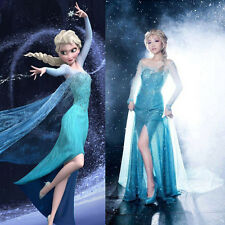 Christmas Frozen Queen Elsa Costume Adult Evening Party Tulle Gown Elsa Dress