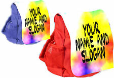 CHILDREN'S PERSONALISED BACKPACK WITH TIE DYE  PRINT JUST ADD YOUR OWN TEXT