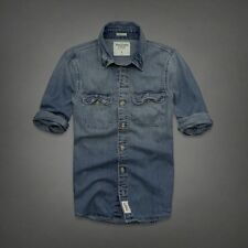 NWT Abercrombie & Fitch by Hollister Flagship Mountain faded DENIM Shirt