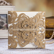 Delicate Personalized Laser Cut Wedding Invitations Cards And Envelopes, Seals