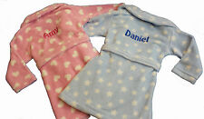 Personalised Embroidered Baby Bath Robe Dressing Gown Pink Hearts Blue Stars
