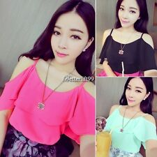 Women Scoop Neck Off Shoulder Blouse Tops Sleeve Crop Top T Shirt 4 Candy Colors