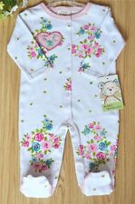 Floral girl boy one pieces clothes Embroidery long-sleeve pajamas footed rompers
