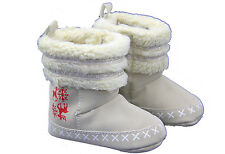 New Beige Christmas WInter Fur topped Boots -baby girl 0-3, 3-6 & 6-12  months
