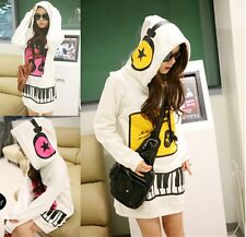 Korean Style Women Music Girl Fleece Thick Hoodies Sweaters Coat Tops Outerwear