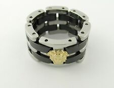 18K Gold  Medusa 316L Stainless Steel Onyx Link Ring Size all available