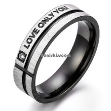 "Black Silver Stainless Steel Cross Grooved |"" Love Only You "" Band Promise Ring"