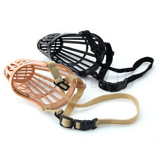 BASKET DOG MUZZLE ,7 Sizes! Flexible Plastic Cage Guardian Gear Adjustable Nylon