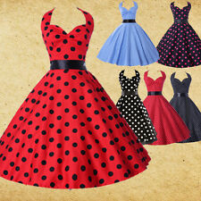 Vintage Retro Style Polka dot Swing Jive 50's Housewife pinup Rockabilly Dress S