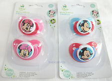Disney Minnie Mickey Mouse baby dummy soother pacifier 2 pk boy girl 0m+
