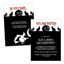 Personalised halloween invitations WITCH CAT PUMPKIN FREE ENVELOPES & DRAFT