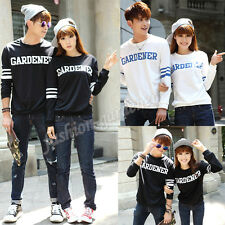 New Korean Black & White Autumn Letter Print Couples Sweater Warm Loose Hoodie