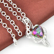 Best Christmas Jewelry Gift Rainbow Mystic Topaz Gems Silver Necklace Pendant