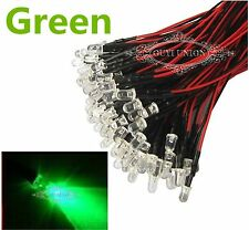 Wholesale 3mm 12V Prewired LEDs Bright Light Green Bulbs Lamp 20cm Pre-wired LED
