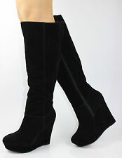 WOMENS KNEE HIGH LADIES WEDGE PLATFORM ZIP KNEE HIGH HEEL WINTER BOOTS SIZE 3-8