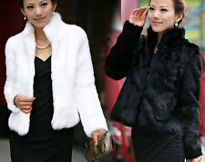 2014 New Women Winter Faux Fox Fur Coat Jacket Outwear Parka Shawl