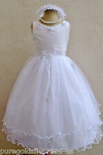 WHITE IVORY PINK RED BLUE GREEN PEACH PURPLE BLACK PAGEANT FLOWER GIRL DRESS