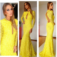 Elegance Mermaid Fashion Lace Floor-length Evening Gowns Womens Dress Yellow SML