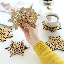Carved Wood Wooden Snowflake Coaster Holder Coffee Tea Drinks Cup Mat Natural