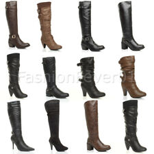 WOMENS LADIES BUCKLE LOW MID HIGH BLOCK HEEL ZIP WINTER CALF KNEE BOOTS SIZE