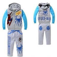 Grey Spiderman Children Outfits Sets Kid Tracksuit Boy Cartoon Clothing Set Gift