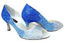 SALE! Blue Silver Bridal Wedding Crystal Peeptoe low heel court using Swarovski