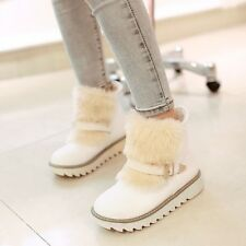 Womens Chic Buckle Strap Fur Furry Winter Snow Warm Ankle Boots Shoes Plus Size9