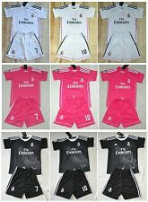 2014-2015  REAL MADRID shirt and short 3-14 years print RONALDO JAMES or own nam