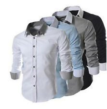 Fashion Long Sleeve Solid Casual Slim Fit Stylish Shirts For Men 4 Color 6 Size