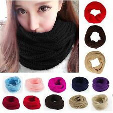 Fad Men Women Winter Warm Infinity 2Circle Cable Knit Cowl Neck Long Scarf Shawl