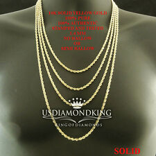 MEN'S WOMEN'S REAL 10K SOLID YELLOW GOLD  ROPE CHAIN NECKLACE 1.4 MM 16~22 INCH