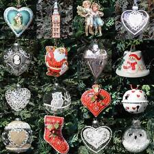 Vintage Style Luxury Christmas Tree Decorations Hanging Hearts Xmas Santa Gift