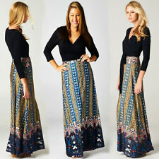 S BOHEMIAN BOUTIQUE Black Top/Print Skirt WRAP Long MAXI DRESS Jersey BOHO S