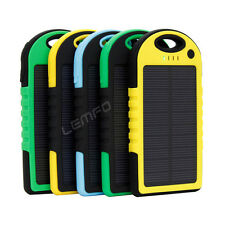5000mAh Waterproof Solar Portable Charger LED USB Power Bank For iPhone Samsung