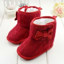 Infant Baby Fur Snow Boots Girl Toddler Knit Prewalker Bowknot Crib Shoes D12