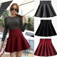 Fashion Women Knitting Pleated Mini Skater High Waist Winter Stretch Short Skirt