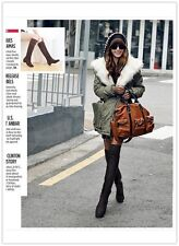 Women Winter Over Knee Faux Suede Stretch Thigh High Slouch Heel Boot Shoe Hot-Y