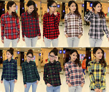 Women Casual Button Down Lapel Shirt Plaids & Checks Flannel Shirts Tops Blouse