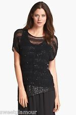 $318 Eileen Fisher Sequin Chainmail Shadow Stripe Scoop neck Box Sweater Top S